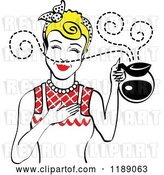 Vector Clip Art of Retro Blond Haired Waitress or Housewife Smelling the Aroma of Fresh Hot Coffee in a Pot by Andy Nortnik
