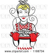 Vector Clip Art of Retro Blond Housewife Holding Freshly Baked Cookies by Andy Nortnik