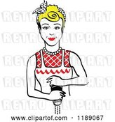 Vector Clip Art of Retro Blond Housewife or Maid Lady Grinding Fresh Pepper by Andy Nortnik