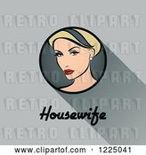 Vector Clip Art of Retro Blond Housewife with a Shadow and Text over Gray by Elena