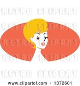 Vector Clip Art of Retro Blond Pinup Lady from the Shoulders up over an Orange Oval by BNP Design Studio