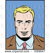 Vector Clip Art of Retro Blond Pop Art Business Man Smiling by Brushingup