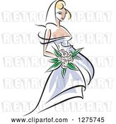 Vector Clip Art of Retro Blond White Bride in a Periwinkle Dress, with Pink Flowers by Vector Tradition SM