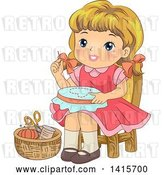 Vector Clip Art of Retro Blond White Girl Working on an Embroidery Frame by BNP Design Studio