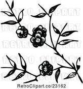 Vector Clip Art of Retro Blossoming Branch by Prawny Vintage