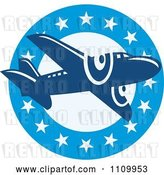 Vector Clip Art of Retro Blue Airplane over a Circle of Stars by Patrimonio