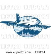 Vector Clip Art of Retro Blue Airplane over Mountains Logo by Patrimonio