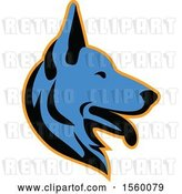 Vector Clip Art of Retro Blue Alsatian German Shepherd Dog Mascot in Profile by Patrimonio