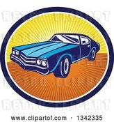 Vector Clip Art of Retro Blue American Muscle Car in a Navy Blue, White and Sunset Ray Oval by Patrimonio