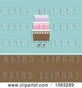 Vector Clip Art of Retro Blue and Brown Polka Dot Cake Background by KJ Pargeter