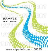 Vector Clip Art of Retro Blue and Green Curvy Line Background with Sample Text by MilsiArt