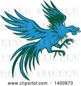 Vector Clip Art of Retro Blue and Green Flying and Fighting Rooster by Patrimonio