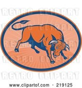 Vector Clip Art of Retro Blue and Orange Angry Bull Logo by Patrimonio