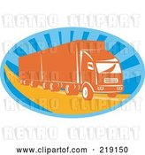 August 14th, 2018: Vector Clip Art of Retro Blue and Orange Big Rig Logo by Patrimonio