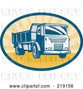 Vector Clip Art of Retro Blue and Orange Dump Truck Logo by Patrimonio