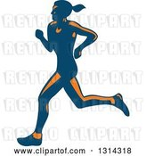 Vector Clip Art of Retro Blue and Orange Female Marathon Runner 2 by Patrimonio