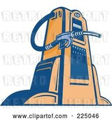 Vector Clip Art of Retro Blue and Orange Gas Pump by Patrimonio