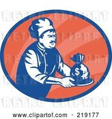Vector Clip Art of Retro Blue and Red Chef Serving Money Logo by Patrimonio