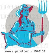 Vector Clip Art of Retro Blue and Red Female Farmer Carrying a Sack and a Pitchfork in a Taupe Circle by Patrimonio