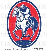 Vector Clip Art of Retro Blue and Red Jockey on Horseback Oval by Patrimonio
