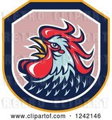 Vector Clip Art of Retro Blue and Red Rooster in a Shield by Patrimonio