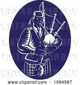 Vector Clip Art of Retro Blue and White Bagpipe Player by Patrimonio