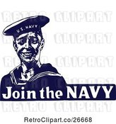 Vector Clip Art of Retro Blue and White Join the Navy Sailor by Prawny Vintage