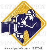 Vector Clip Art of Retro Blue and White Male Cameraman Working in a Yellow Sunburst Diamond by Patrimonio