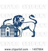 Vector Clip Art of Retro Blue and White Male Lion Resting a Paw on a House by Patrimonio