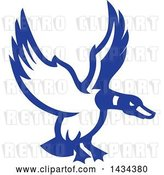 Vector Clip Art of Retro Blue and White Mallard Duck Flying by Patrimonio