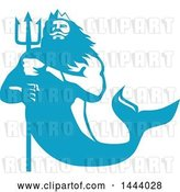 Vector Clip Art of Retro Blue and White Merman, Triton Mythological God, Holding a Trident by Patrimonio