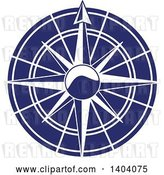 Vector Clip Art of Retro Blue and White Nautical Compass Rose by Inkgraphics