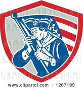 Vector Clip Art of Retro Blue and White Revolutionary Soldier with an American Flag in a Red and Gray Shield by Patrimonio