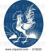 Vector Clip Art of Retro Blue and White Rooster Logo by Patrimonio