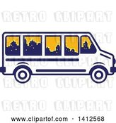 Vector Clip Art of Retro Blue and White Tour Bus with a City Skyline in the Windows by Patrimonio