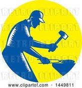 Vector Clip Art of Retro Blue and White Woodcut Blacksmith Worker Forging Iron in a Yellow Circle by Patrimonio