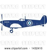Vector Clip Art of Retro Blue and White World War Two Spitfire Fighter Airplane by Patrimonio