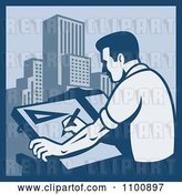 Vector Clip Art of Retro Blue Architect Draftsman Sketching Skyscrapers by Patrimonio