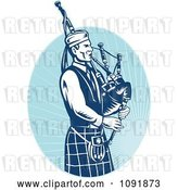 Vector Clip Art of Retro Blue Bagpipe Player by Patrimonio