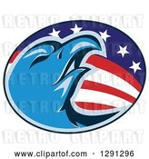 Vector Clip Art of Retro Blue Bald Eagle Head in an American Flag Oval by Patrimonio
