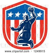 Vector Clip Art of Retro Blue Basketball Player Dunking over an American Shield by Patrimonio