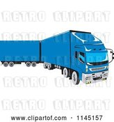 Vector Clip Art of Retro Blue Big Rig Truck 1 by Patrimonio