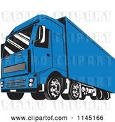 Vector Clip Art of Retro Blue Big Rig Truck 2 by Patrimonio
