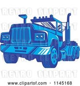 Vector Clip Art of Retro Blue Big Rig Truck 3 by Patrimonio