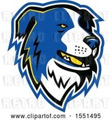 Vector Clip Art of Retro Blue Border Collie Dog Mascot Head by Patrimonio