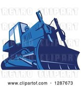 Vector Clip Art of Retro Blue Bulldozer Machine by Patrimonio
