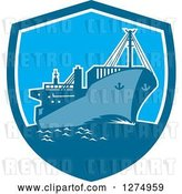 Vector Clip Art of Retro Blue Cargo Ship in a Shield by Patrimonio