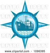 Vector Clip Art of Retro Blue Cargo Ship or Ocean Liner Inside a Compass by Patrimonio