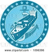 Vector Clip Art of Retro Blue Cargo Ship or Ocean Liner with an Anchor and Stars by Patrimonio