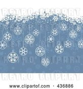 Vector Clip Art of Retro Blue Christmas Background with Baubles and White Snow Grunge by KJ Pargeter